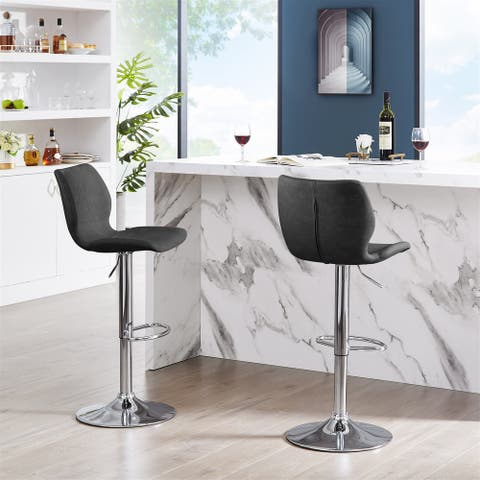 Adjustable Counter-height Stools, Faux Leather Bar Stools, Dining Chairs(Set of 2)
