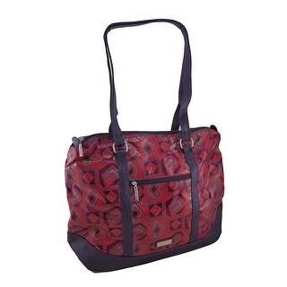 Hadaki Hannah's Tote Tic Tac Toe Berry Print Oversized Bag - Red