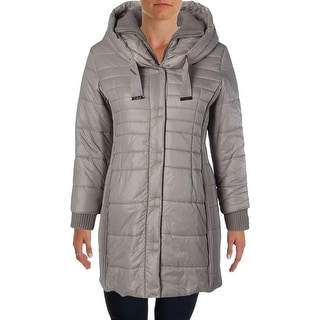 T Tahari Womens Plus Down Hooded Packable Coat - 1X