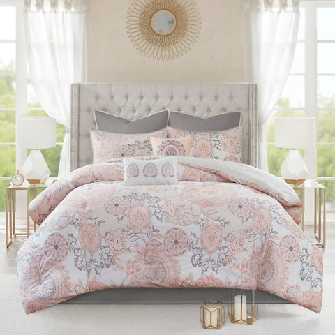 Madison Park Loleta Cotton Printed 8-piece Reversible Comforter Set