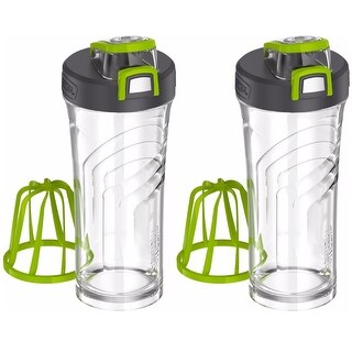 Thermos 24oz Shaker Bottle with Integrated Stationary Mixer Clear/Green - 2PK