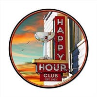 Past Time Signs  Happy Hour Round Bar And Alcohol Vintage Metal Sign