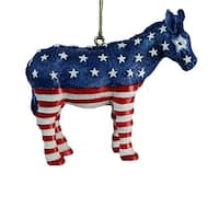 Club Pack of 12 Blue and Red Patriotic Donkey Decorative Ornaments 2.25""