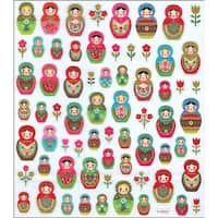 Multicolored Stickers-Russian Dolls Glitter