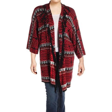 Rafaella Womens Plus Duster Sweater Open Front Fringe