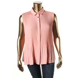 NY Collection Womens Sheer Shutter Pleat Pullover Top - M