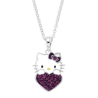 Girl's Hello Kitty February Heart Pendant with Crystals in Sterling Silver-Plated Brass