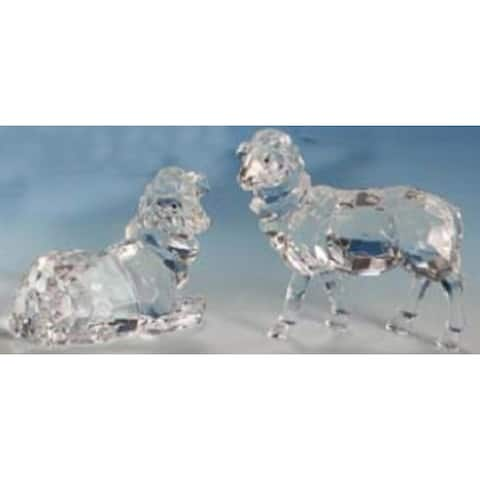 """Club Pack of 12 Icy Crystal Christmas Nativity Sheep Figurines 4"""""""