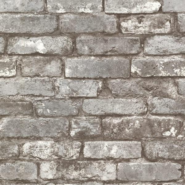 Brewster 2604-21259 Brickwork Pewter Exposed Brick Texture Wallpaper - N/A