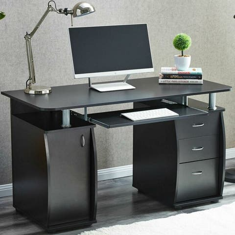 Porch & Den Shadywood Black 1-door 3-drawer Computer Desk