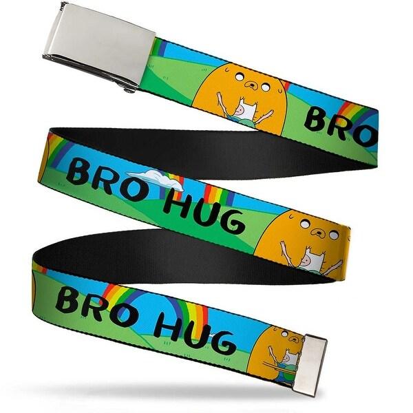 Blank Chrome Bo Buckle Finn & Jake Bro Hug W Rainbow Webbing Web Belt