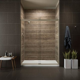 "Kohler K-706009-L Levity 60"" Clear Sliding Shower Door with Grab Bars and CleanCoat Technology"