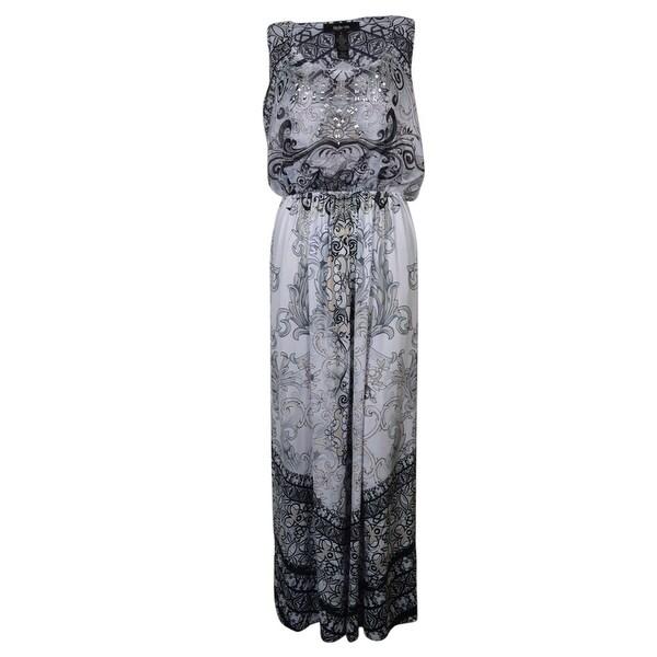 Style & Co. Women's Studded Chiffon Inset Jersey Maxi Dress - living proof - s