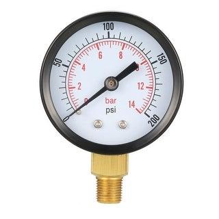 "Pressure Gauge , 0-200 PSI/0-14 Bar Dual Scale ,1.8"" Dial Display ,1/8"" NPT Male"