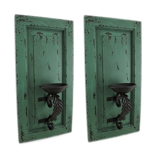 Distressed Green Wood and Metal Wall Sconce Set of 2 Hanging Candle Holders