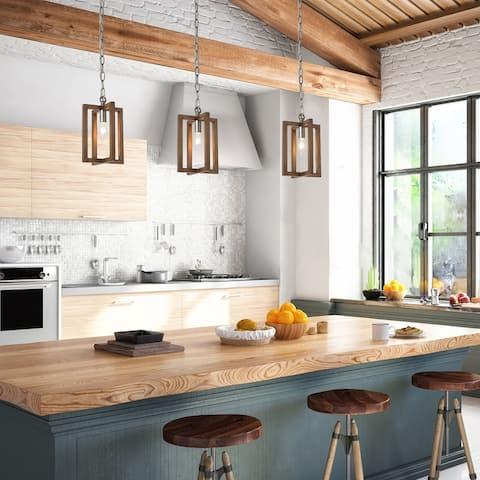 Modern Farmhouse 1-Light Wood Grain Pendant Lights for Kitchen Island Dining Room - D6.5'' x H70''