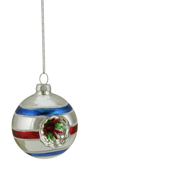 """Silver, Red and Blue Glittered Witches Eye Glass Ball Ornament 2.75"""" (70mm)"""
