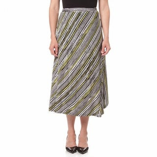 Multiples NEW Black Womens Large PL Petite Asymmetrical Striped Skirt