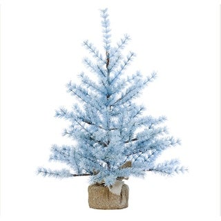 3' Winter Light Frosted Powder Blue Alpine Artificial Christmas Tree with Burlap Base - Unlit
