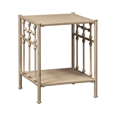 Carbon Loft Cauthen Vintage Series Vintage Cream Distressed Metal Open Night Stand