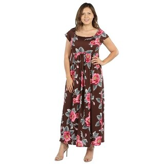 24Seven Comfort Apparel Brown and Pink Floral Empire Waist Plus Size Long Dress