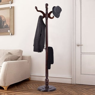 Costway 71'' Wood Hat Coat Rack Hanger Tree Stand Hallway Entry Home Furniture W/ 11Hooks - Brown
