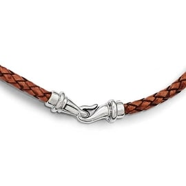 Chisel Stainless Steel Polished Woven Brown Leather Necklace 16.25 inch - 16.25 in
