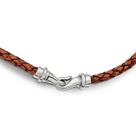 Chisel Stainless Steel Polished Woven Brown Leather Necklace 19.5 inch - 19.5 in