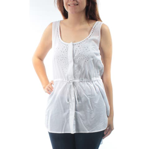 FRENCH CONNECTION Womens White Embroidered Tie Sleeveless Scoop Neck Hi-Lo Top Size: 6