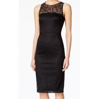 Jessica Simpson NEW Black Women's Size 2 Beaded Neck Lace Sheath Dress