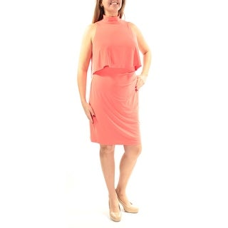 Womens Orange Sleeveless Above The Knee Blouson Wear To Work Dress Size: 14