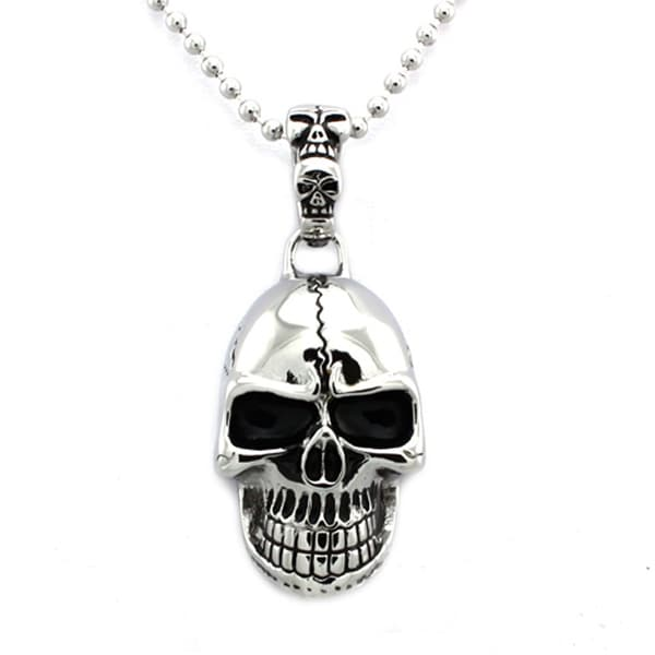 Stainless Steel Biker Skull Pendant - 24 inches