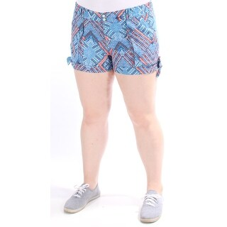 Womens Blue, Orange Geometric Cropped Short Juniors Size XL