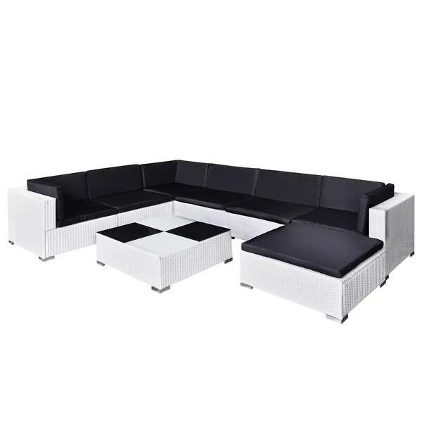 "vidaXL 8 Piece Garden Lounge Set with Cushions Poly Rattan White - 110"" x 83"" x 21"""