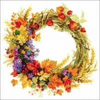 """11.75""""X11.75"""" 14 Count - Wreath With Wheat Counted Cross Stitch Kit"""