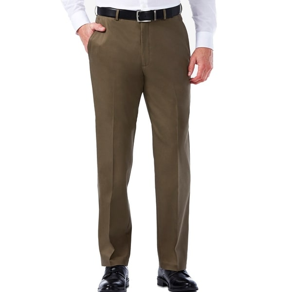 Haggar Mens Dress Pants Brown Size 38x34 Khakis Flat Front Stretch. Opens flyout.