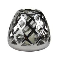 "7"" Beach Day Shiny Silver Diamond Cut-Out Tea Light or Votive Candle Holder"