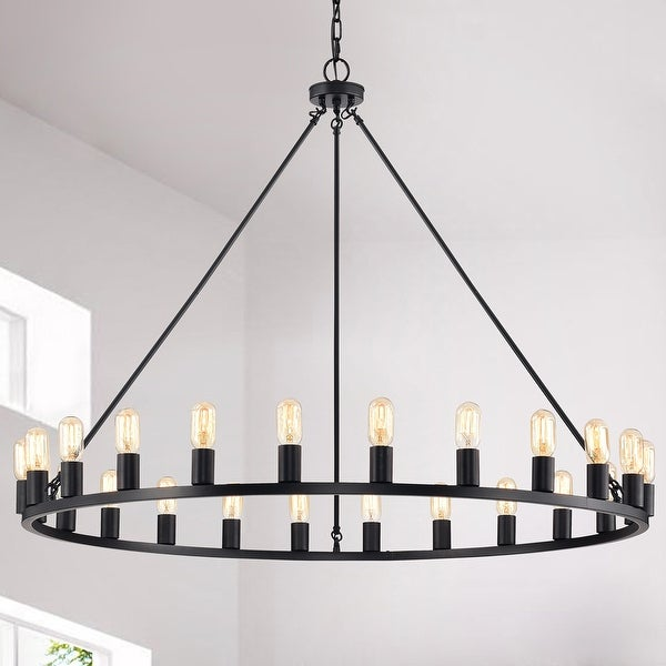 The Gray Barn 24 Light 48 Inch Round Wagon Wheel Chandelier Overstock 31789493