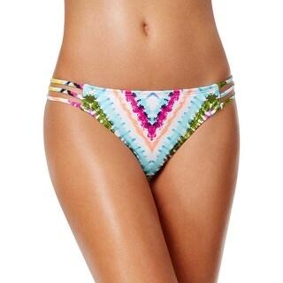 Bar III Womens Dana Tie Dye Strappy Hipster Bikini Bottom Multi-Color Large L