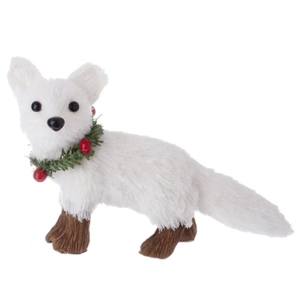 """5.75"""" Country Cabin White Fox with Holly Berry Collar Christmas Ornament"""