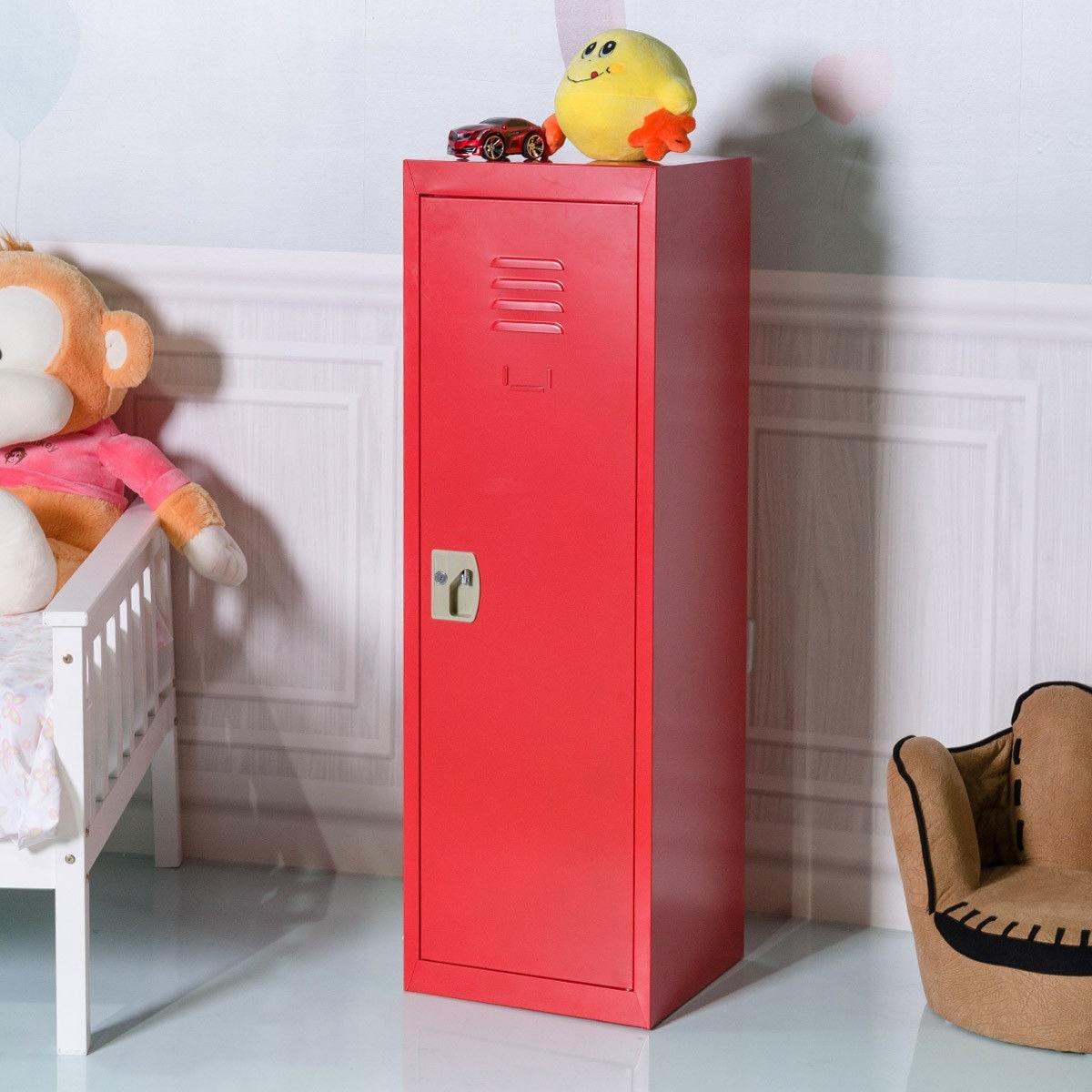 Costway 48\'\' Kid Locker Safe Storage Children Single Tier Metal Lockers  Lock And Key Red