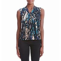 Calvin Klein Blue Womens Size Small S Printed Tie-Neck Blouse