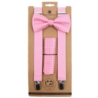 3pc Men's Pink Banded Suspenders, Dotted Bow Tie and Hanky Sets - One Size Fits most