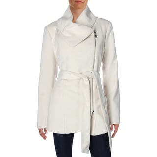Jessica Simpson Womens Trench Coat Asymmetric Faux Wool