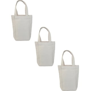 Liberty Bags Canvas Double Wine Bottle Tote Bag (Pack of 3) - Natural - One Size