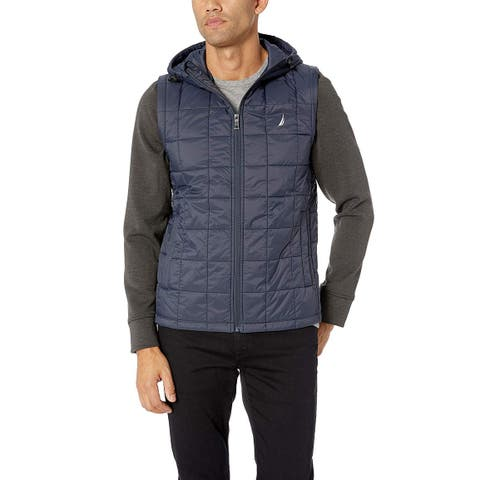 Nautica Mens Blue Gray Size XL 2 In 1 Quilted Hooded Down Jacket