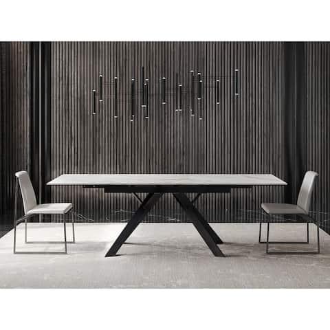 B-Modern Nairi Extension Dining Table - White Carrera
