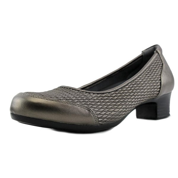 FootSmart Gina Women W Round Toe Synthetic Gray Heels