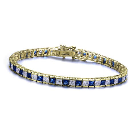 Collette Z Sterling Silver 14K Gold Plated with Sapphire and Clear Cubic Zirconia Tennis Bracelet