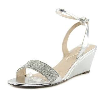 Nina Nolia Women Open Toe Synthetic Silver Wedge Heel